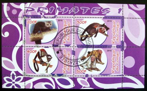 congo fauna, bloque 4 sellos primates 1 2010 usado l6672