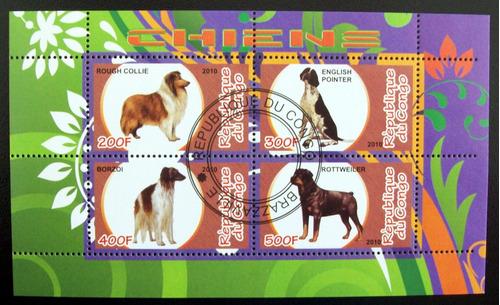 congo fauna perros, bloque 4 sellos chiens 2010 usado l6650