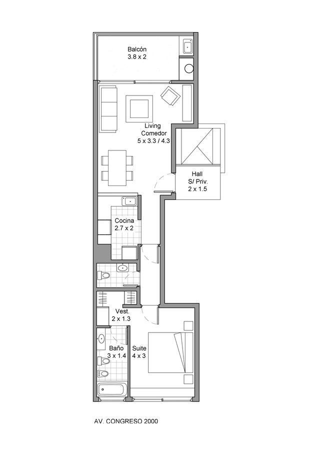 congreso al 2000. excelente 2 ambientes. piso alto con vista abierta.
