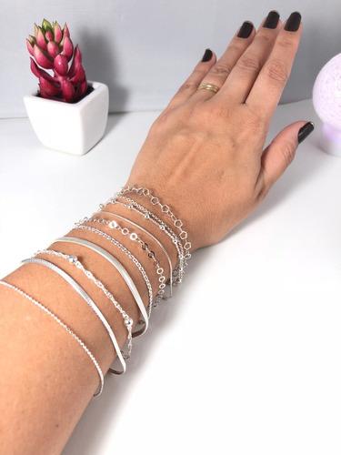 conj. 10 pulseira prata maciça 925 bolinha laminada elo