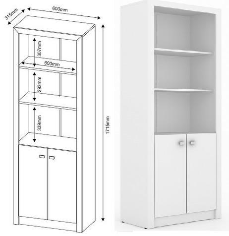 conj. 2 estantes com / sem portas branco livreiro nichos 2e