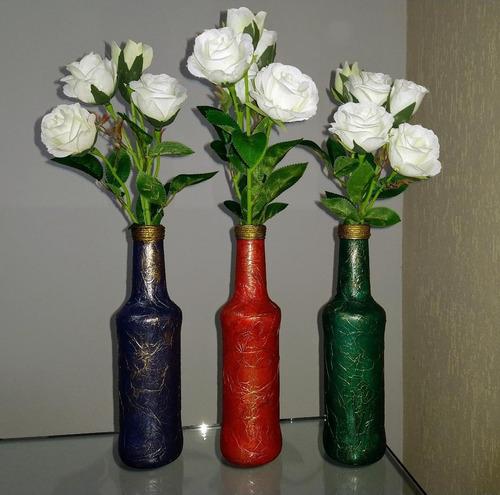 conj. de garrafas decorativas detalhes dourado e envelhecido