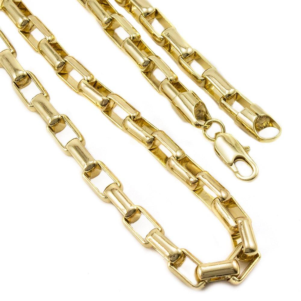 9cd2dbceaf5 Conj Pulseira E Corrente 7mm Folheado A Ouro Modelo Cartier - R  301 ...