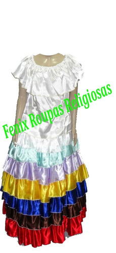 conj saia 7 babados/roupas de santo/orixás umbanda/candomblé