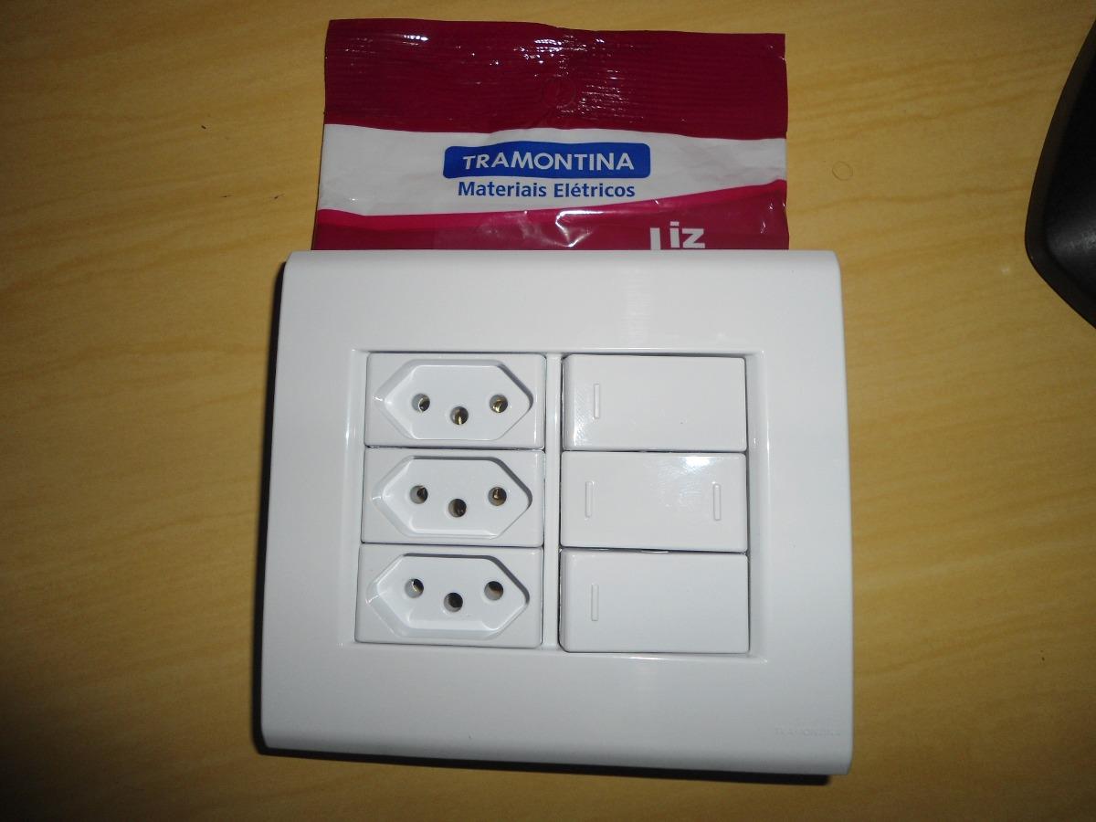 Conj tramontina 4x4 3 interruptores e 3 tomadas 10a r for Wohnzimmer 4 x 10