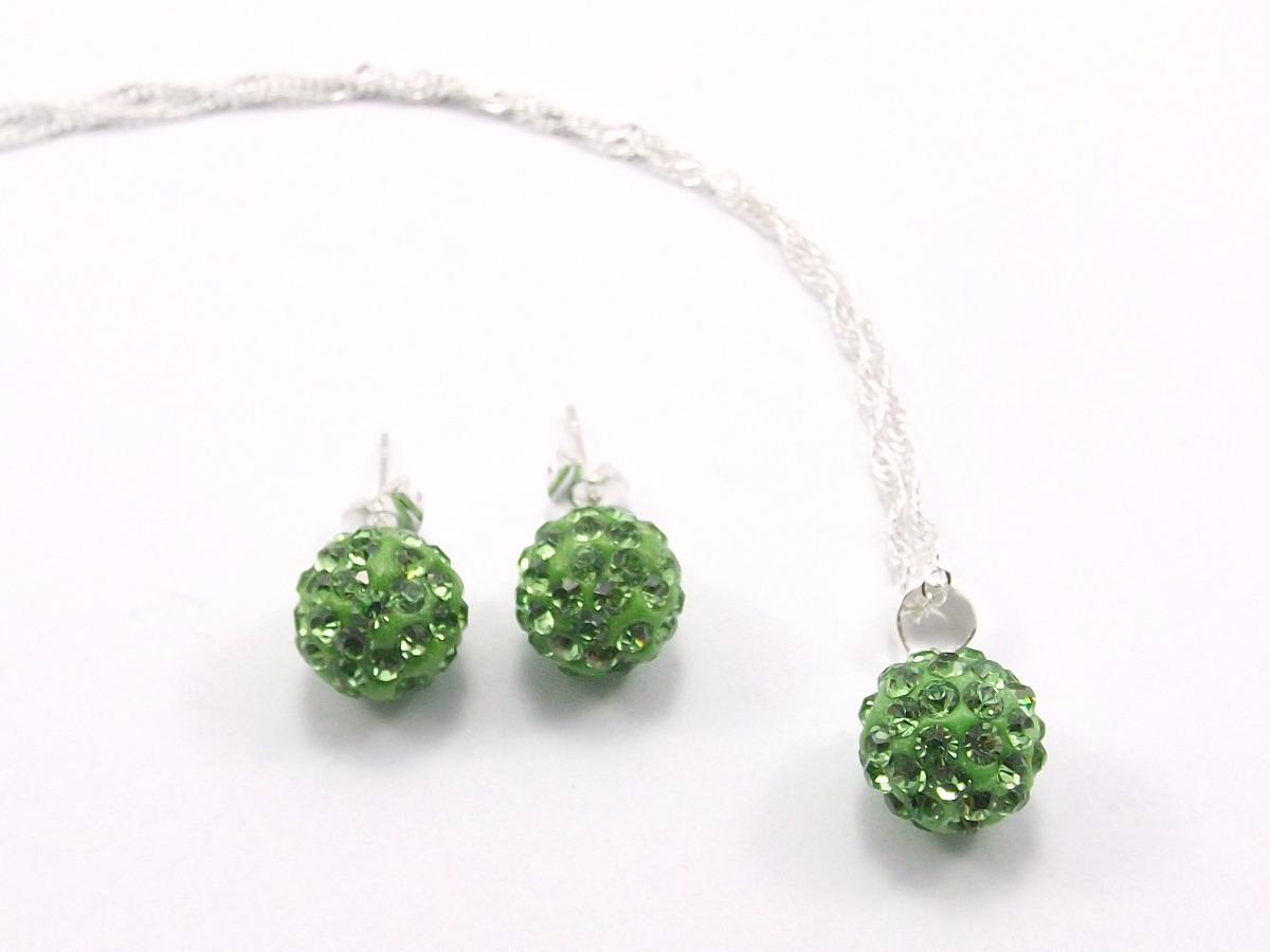 18e6496a53a2 conj.joyas plata 925 con piedra shamballa collar+aros 6 un. Cargando zoom.