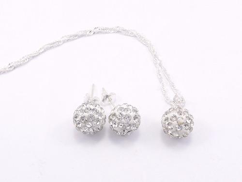 conj.joyas  plata con piedra shamballa collar+aros  mayor 5u