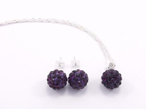 conj.joyas  plata con piedra shamballa collar+aros  mayor 6u