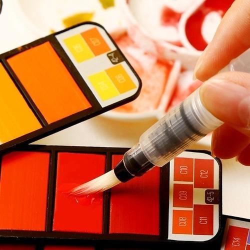 conjto aquarela 33 cores sólidas com water brush-s1