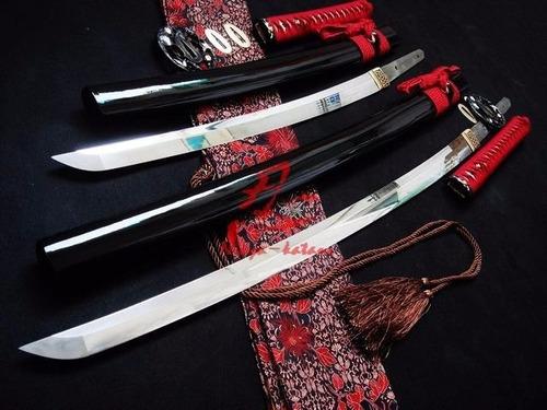conjuno daisho espada katana wakizashi forjada aço damasco