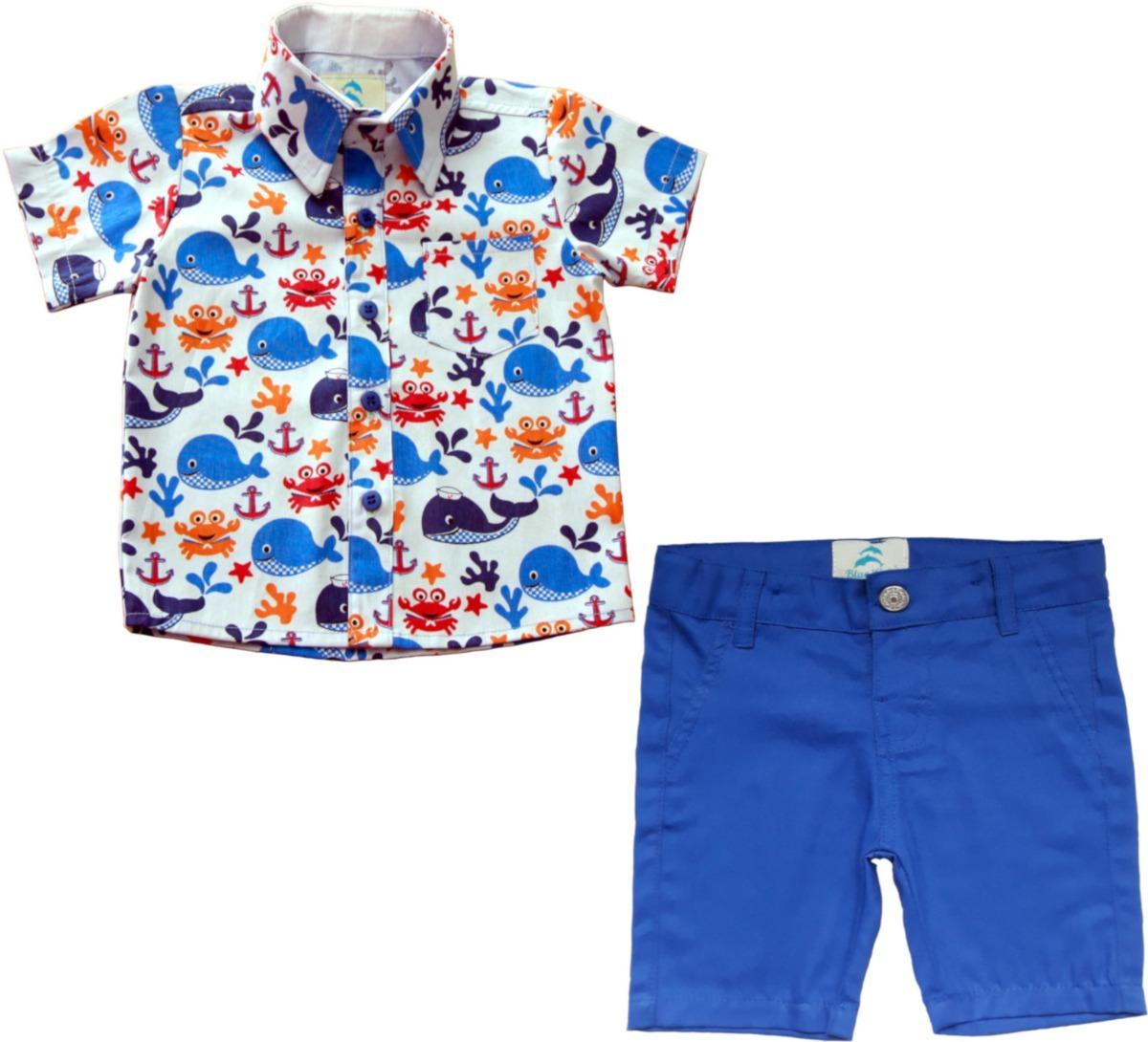 da7a5daefe Conjuntinho Camisa Manga Curta Infantil Menino E Bermuda - R  145