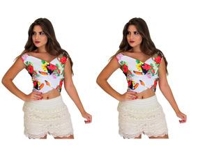 1057535a0 Conjuntinho Short Cropped Branco - Calçados, Roupas e Bolsas no ...