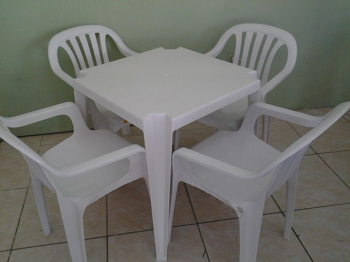 Conjunto 1 Mesa E 4 Cadeiras De Plástico Poltronas Goyana ...