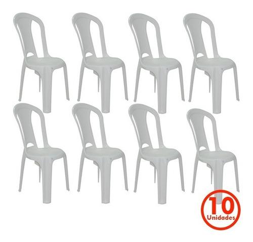conjunto 10 cadeira plástico sem braço tramontina 154kg