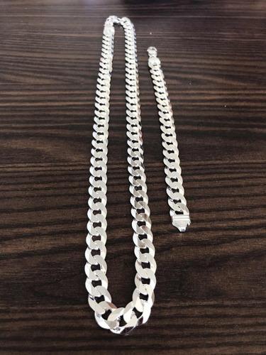 conjunto 12mm 70cm escama grumet flat maciço prata 925 luxo