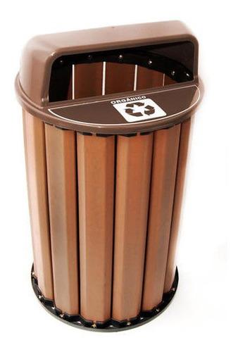 conjunto 2 lixeiras seletivas madeira plástica 94l c/ tampa