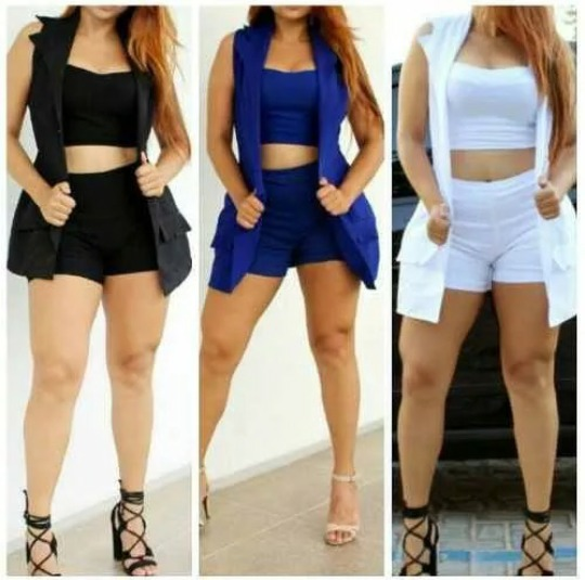 46e20dc400 Conjunto 3 Peças Blazer Cropped Shorts Em Bengaline Barato - R  47 ...