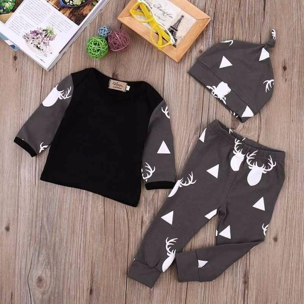Conjunto 3 Peças Camiseta Manga Comprida Calça Touca 3-6m - R  67 885b48424e5