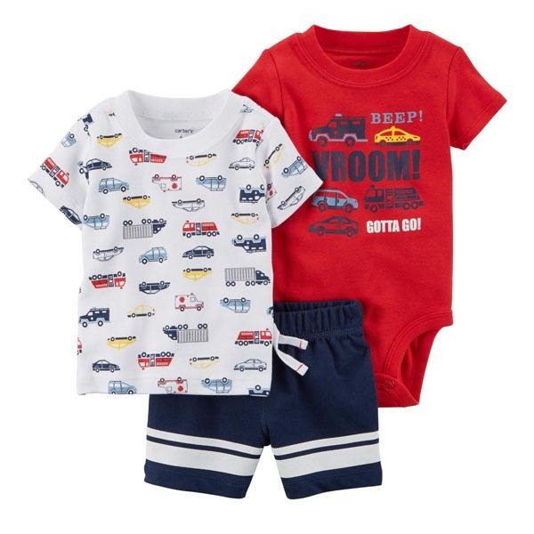 Conjunto 3 Peças Verão Shorts Body Camiseta - Carters - R  89 7a83e6ae435