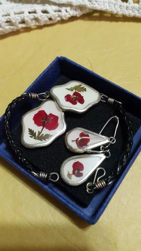 conjunto 3 piezas flores naturales alpaca plata y cuero