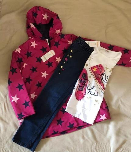 conjunto 3 pza impermeable pantalón blusa talla 8,10-12 niña