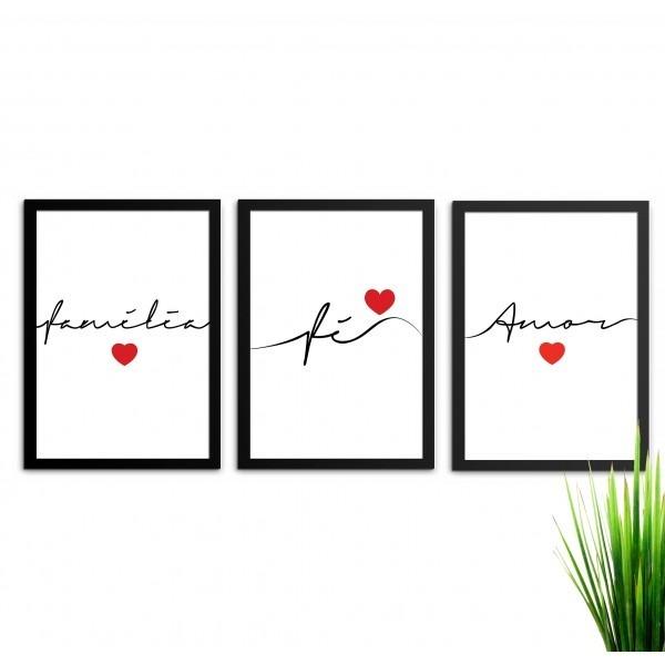 427165d96 Conjunto 3 Quadros Decorativos Fé Amor Família Com Vidro A4 - R  156 ...