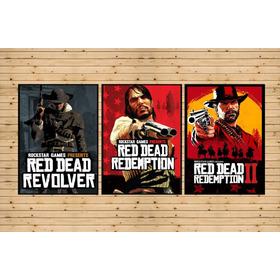 Conjunto 3 Quadros Trilogia Red Dead Redemption 2 Rockstar