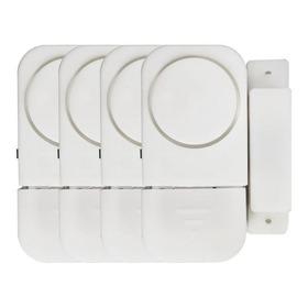 Conjunto 4 Alarme Sonoro Magnético Residencial Portas Janela
