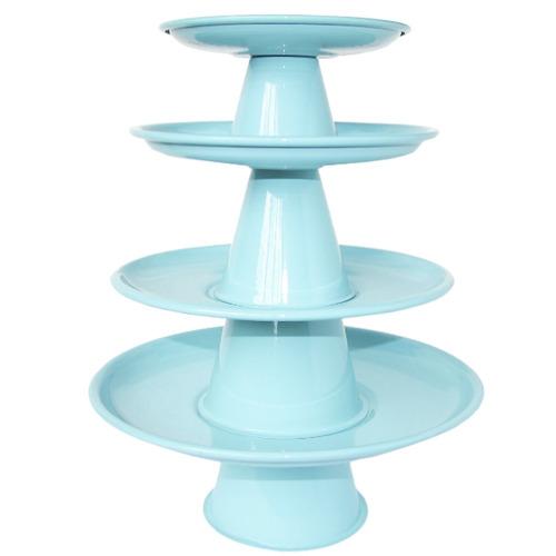 conjunto 4 bandejas alumínio torre decorar festa doces bolo