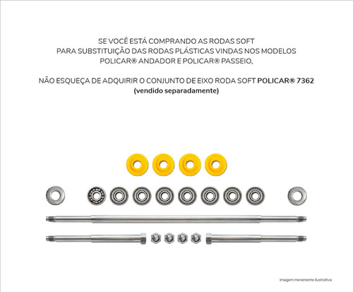 conjunto 4 rodas soft - policar® 7348