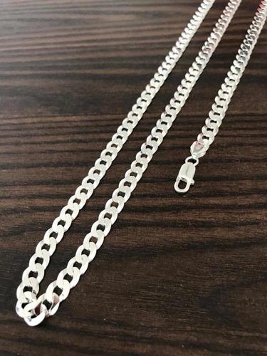 conjunto 6mm prata 925 70cm maciça + pulseira 6mm prata 925