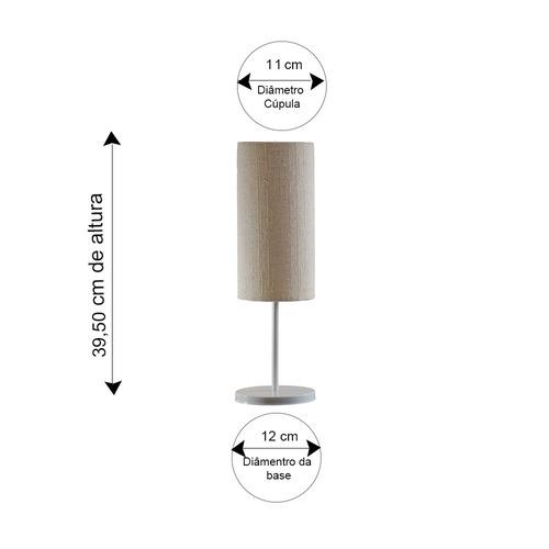 conjunto abajur luminária tube tecido bege avelis