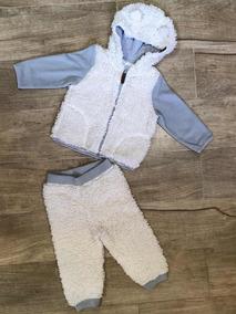 f229adcdc64b94 Conjunto Abrigo Moletom Bebe Urso Polar Pêlo Usado Novinho