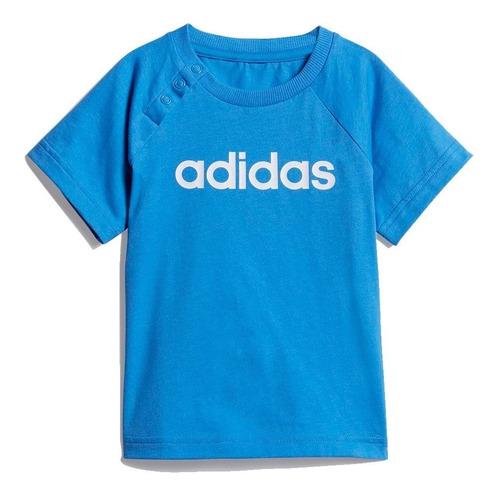 conjunto adidas infantil de verão linear azul menino dv1263