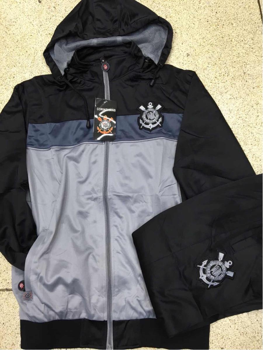 2d6244a7416ab conjunto agasalho corinthians cinza preto calça blusa novo. Carregando zoom.