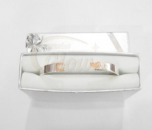 conjunto anillo y pulsera plata oro letra corazón    cuotas