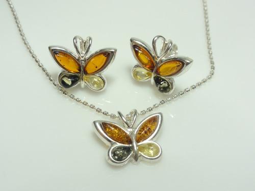 conjunto aretes-dije-cadena.mariposas de ámbar y plata.