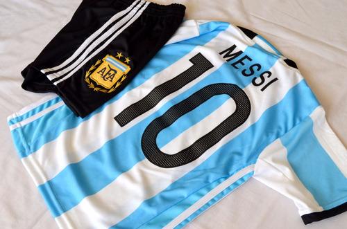 conjunto argentina estampa messi camiseta+short niño env.