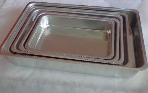 conjunto assadeiras retangular alta 5pç em aluminio