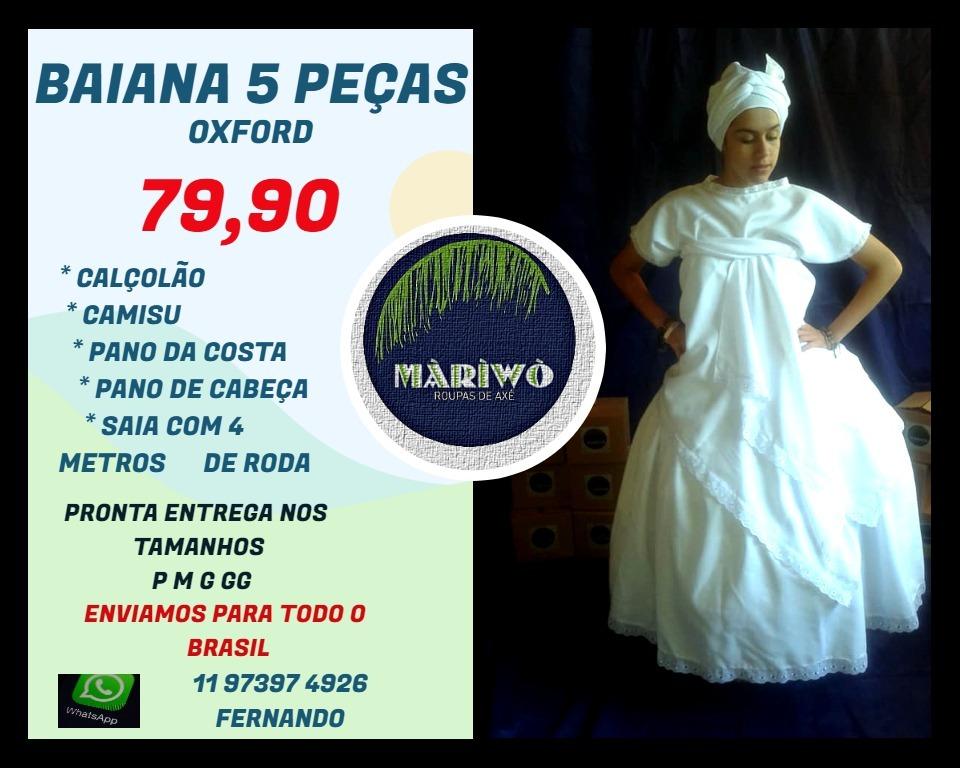8728994d5 Conjunto Baiana 5 Peças Em Oxford Saia Ração - R$ 104,90 em Mercado ...