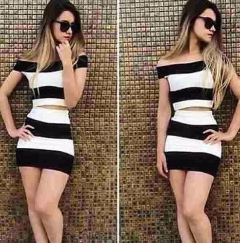 Vestido bandage preto e branco longo