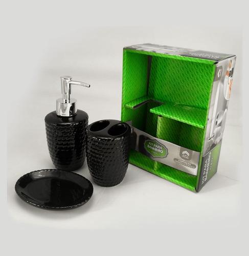conjunto banheiro kit lavabo preto porta sabonete escova