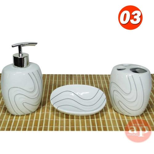 conjunto banheiro porcelana 3 peças lindo promoção barato zs