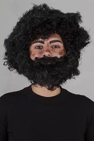 conjunto barba e peruca  mendigo sintético fio nacional