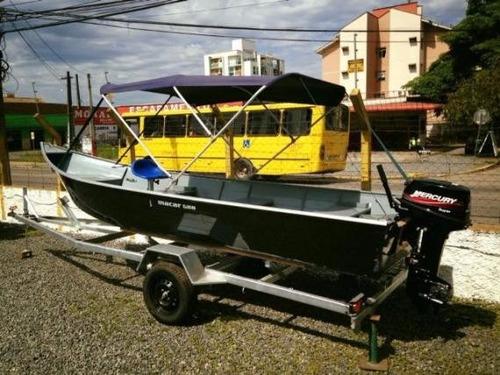 conjunto barco 5 metros motor 15hp mercury carreta rodoviari