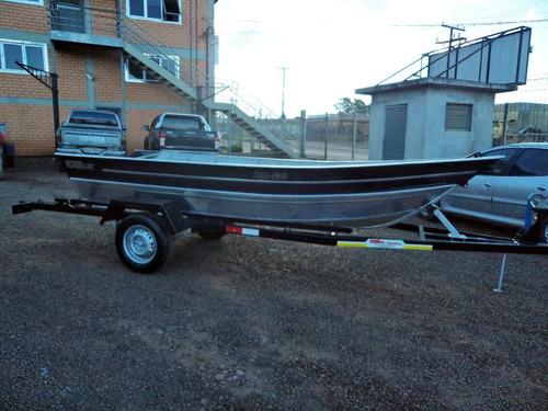 conjunto barco alumínio life 420 + 5hp mercury + carretinha