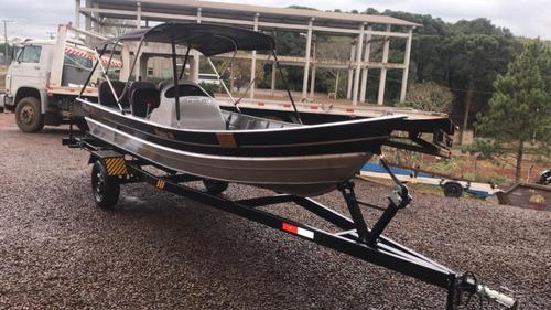 conjunto barco alumínio life 500 + 25hp mercury + carretinha