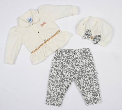 conjunto bebê menina casaco e calça acompanha boina