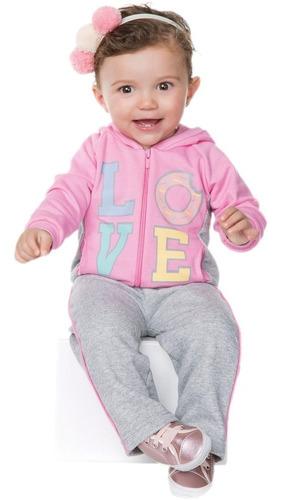 conjunto bebê menina inverno moletom longo love