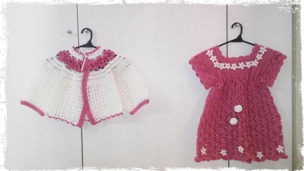Conjunto Bebe Crochet. Vestido + Saquito. Tejido Artesanal - $ 730 ...